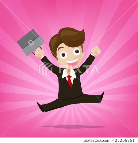Businessman jumping with joy on sunburst pink 23206561