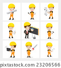 Set of 9 engineer and labor worker in difference  23206566