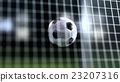 soccer ball slow motion to the goal. Football  3d 23207316