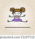 hand drawing cartoon happy girl 23207532