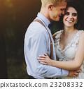 Beautiful wedding couple posing 23208332