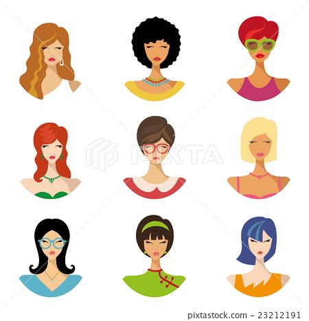 Beautiful girls avatars.Various hair style icons 23212191