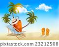 Tropical seaside with palms, a beach chair 23212508