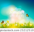 Happy summer holidays background with flowers 23212510