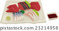 sashimi, assortment, combination platter 23214956