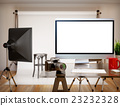 3D Photography studio with blank screen. Mockup 23232328