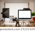 3D Photography studio blank laptop screen. Mockup 23232329