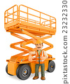 3D Construction worker with a scissor lift 23232330