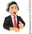 3D Call center employee with thumb up 23232331