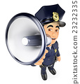 3D Policeman talking on a megaphone 23232335