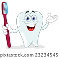 Cartoon tooth with toothbrush 23234545