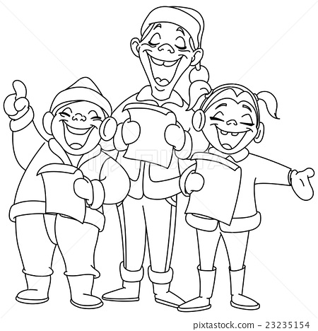 Outlined christmas carolers 23235154