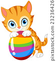 Kitten with egg Easter 23236426