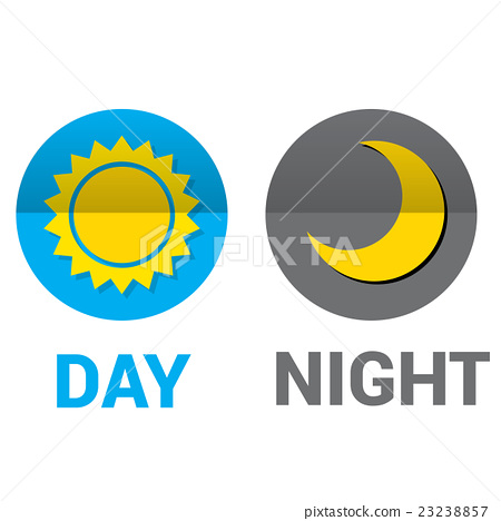 Stock Illustration: Sun and moon in sky, day and night. Vector