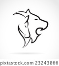 Vector image of an lion head and horse head. 23243866