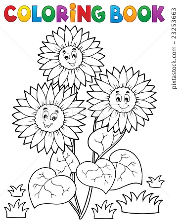 Coloring book with happy sunflowers 23253663