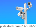 Security cctv cameras on blue sky, 3D rendering 23257022