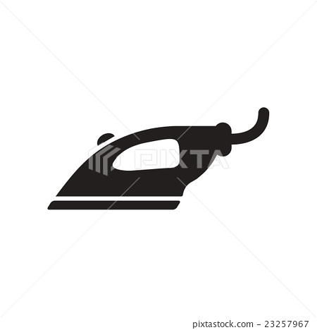 flat icon in black and white style iron  23257967