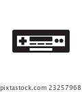 flat icon in black and white style tape recorder  23257968