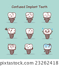 Confused cartoon tooth implant set 23262418