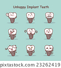 Unhappy cartoon tooth implant set 23262419