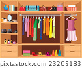 Flat Design walk in closet with shelves. 23265183