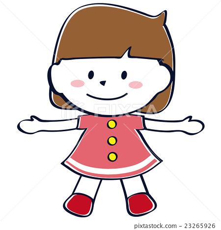 傳送逗人喜愛的手的短袖女孩微笑的整體 23265926