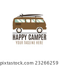 Happy camper logo design. Vintage bus illustration 23266259
