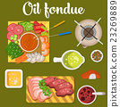 Oil fondue with meat and vegetables like carrot 23269889