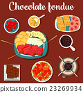 Melted chocolate fondue with cookies and 23269934