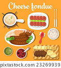 Melted cheese swiss or italian, french fondue with 23269939