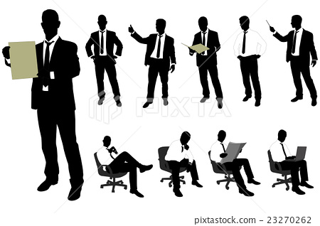 businessman silhouettes - vector 23270262