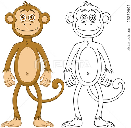 Cute Monkey With Lineart 23270995