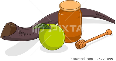 Honey Jar Apple And Shofar For Yom Kippur 23271099