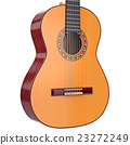 Body acoustic guitar with strings, close view 23272249