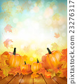 Pumpkins on wooden background with leaves 23276317