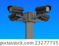 Security cctv cameras on blue sky, 3D rendering 23277735