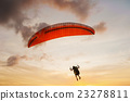 Man with glider on the sky sunset 23278811