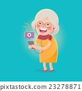 Happy Old Woman Watch Movie From Smart phone 23278871