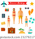 Summer holiday flat icons . Vector 23279217