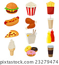 Set of colorful cartoon fast food icons isolated 23279474