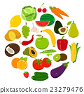 Fruits and Vegetables icons.  23279476