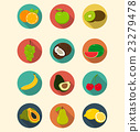 Fruits icons set modern flat design.  23279478