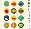 Vegetables icons set modern flat design.  23279479