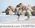 happy family on beach playing, father with son 23289783