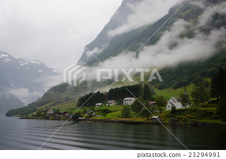 Nerooy Fjord (Norway) with a fog 23294991