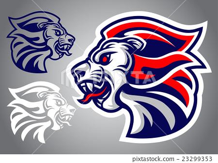 lion head blue red logo vector 23299353