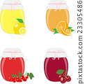 Jam jars, lemons, oranges, currants and cherries.  23305486