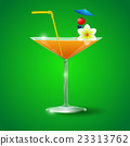 Cocktail Glass with straw and flower 23313762