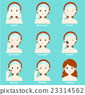 cartoon character woman show makeup step vector 23314562